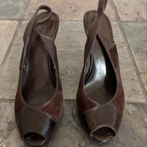 Joan & David dark brown open toe heels